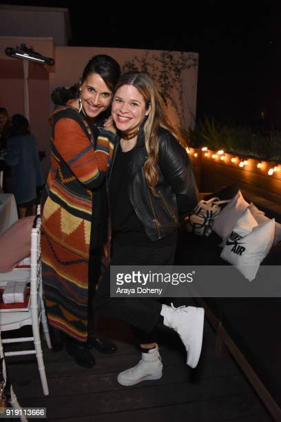 Andrea Corradini and Georgina James attend the Flaunt Magazine Dinner with Nike and Revolve on February 15 2018 in Los Angeles California