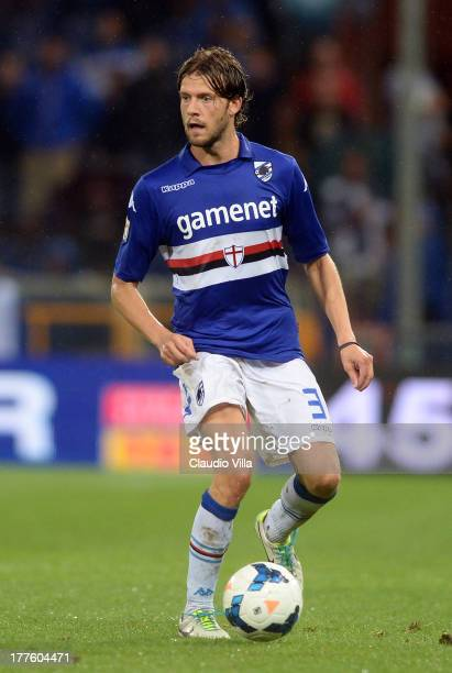 Andrea Costa of UC Sampdoria in action during the Serie A match between UC Sampdoria and Juventus at Stadio Luigi Ferraris on August 24 2013 in Genoa...