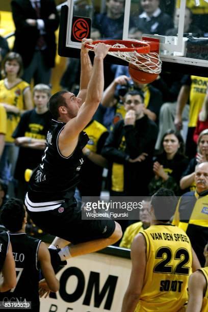 Andrea Crosariol in action during the Euroleague Basketball Game 11 between Prokom Trefl Sopot vs Virtus Vidivici Bologna at the 100 Years Hall on...