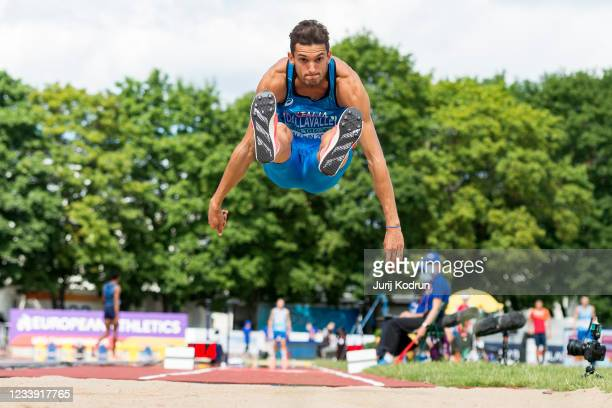 Andrea Dallavalle of Italy competes in the men's triple jump final on day four of the 2021 European Athletics U23 Championships at Kadriorg Stadium...