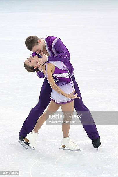 Andrea Davidovich and Evgeni Krasnopolski of Israel compete during the Figure Skating Pairs Short Program on day four of the Sochi 2014 Winter...
