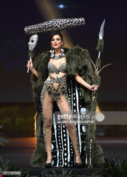 Andrea Díaz Miss Chile 2018 walks on stage during the 2018 Miss Universe national costume presentation in Chonburi province on December 10 2018