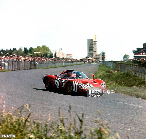 Andrea de Adamich in an Alfa Romeo T33 racing in the Nurburgring 1000KMs race Germany 1967