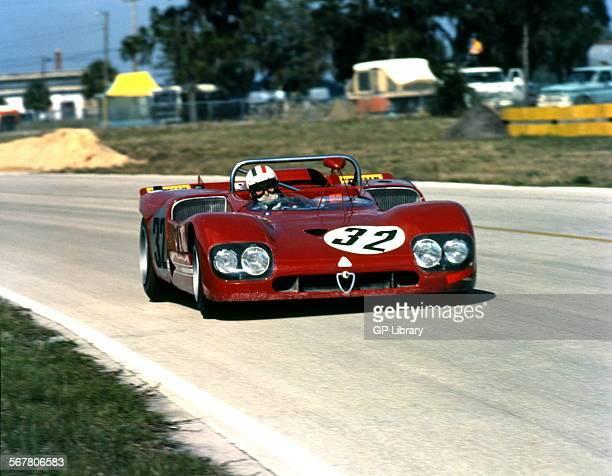 Andrea de AdamichHenri PescaroloNino Vaccarella's Alfa Romeo T333 finished 3rd in 12hr race Sebring florida USA 20 March 1971