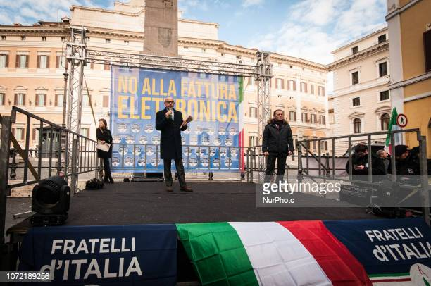 Andrea de Bertoldi senator of Fratelli d'Italia and secretary of the Senate's Finance Commission intervenes during the demonstration against...