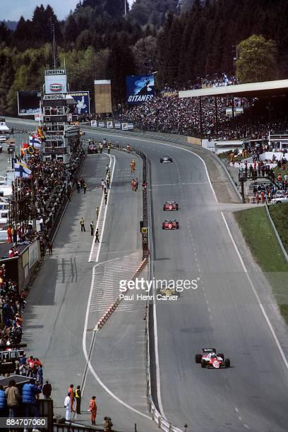 Andrea de Cesaris Alain Prost Patrick Tambay René Arnoux Alfa Romeo 183T Renault RE40 Ferrari 126C2B Grand Prix of Belgium Circuit de...