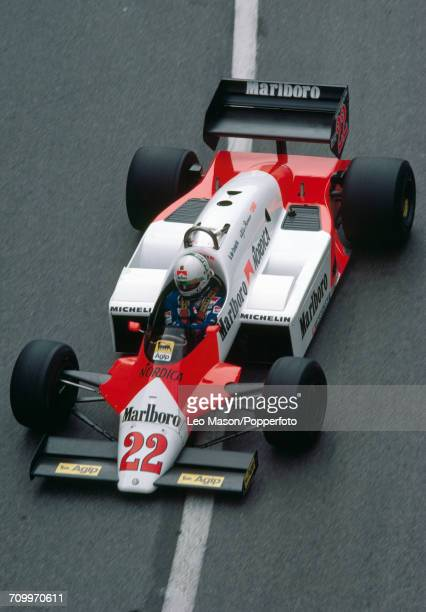 Andrea de Cesaris of Italy enroute to placing seventh driving an Alfa Romeo 183T with an Alfa Romeo 890T 15 V8t engine for Marlboro Team Alfa Romeo...