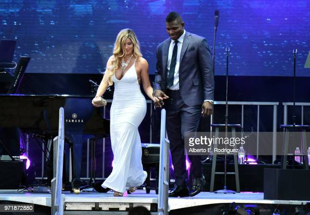 Andrea de la Torre and Yasiel Puig attend the Fourth Annual Los Angeles Dodgers Foundation Blue Diamond Gala at Dodger Stadium on June 11 2018 in Los...