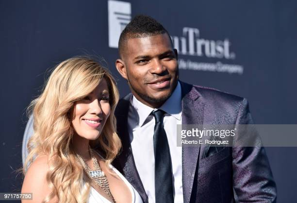 Andrea de La Torre and Yasiel Puig attends the Fourth Annual Los Angeles Dodgers Foundation Blue Diamond Gala at Dodger Stadium on June 11 2018 in...