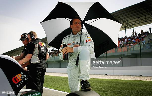 Andrea DeCesaris of Italy on the grid before the Grand Prix Masters race at the Losail International Circuit on April 29 in Doha Qatar