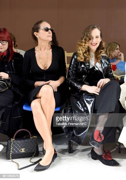 Andrea Dellal and Charlotte Dellal attend the Isa Arfen show during London Fashion Week February 2018 at Eccleston Place on February 20 2018 in...