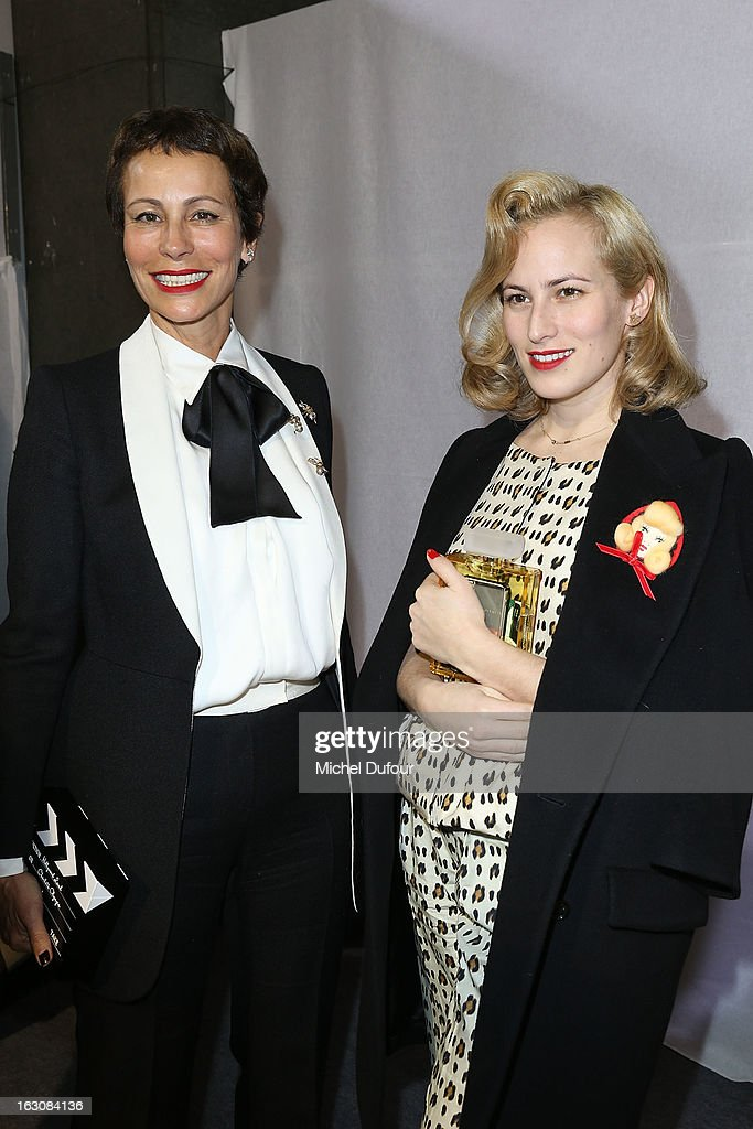 Andrea Dellal (L) and Charlotte Dellal pose together backstage at the Giambattista Valli Fall/Winter 2013 Ready-to-Wear show as part of Paris Fashion Week on March 4, 2013 in Paris, France.