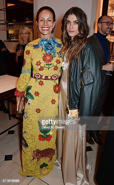 Andrea Dellal and Elisa SednaouiDellal attend as mytheresacom and Burberry celebrate the new MYT Woman at Thomas's on February 21 2016 in London...
