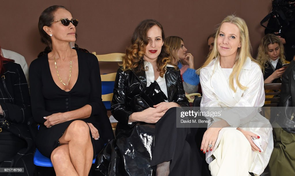 Andrea Dellal, Charlotte Dellal and Alice Naylor-Leyland attend the Isa Arfen show during London Fashion Week February 2018 at Eccleston Place on February 20, 2018 in London, England.