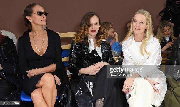 Andrea Dellal Charlotte Dellal and Alice NaylorLeyland attend the Isa Arfen show during London Fashion Week February 2018 at Eccleston Place on...