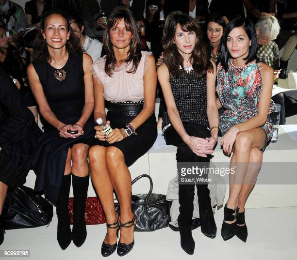 Andrea Dellal Debbie Bismarck Fiona Collins and Leigh Lazarre sit in the front row of the Marios Schwab Spring/Summer 2010 show at the Topshop Show...