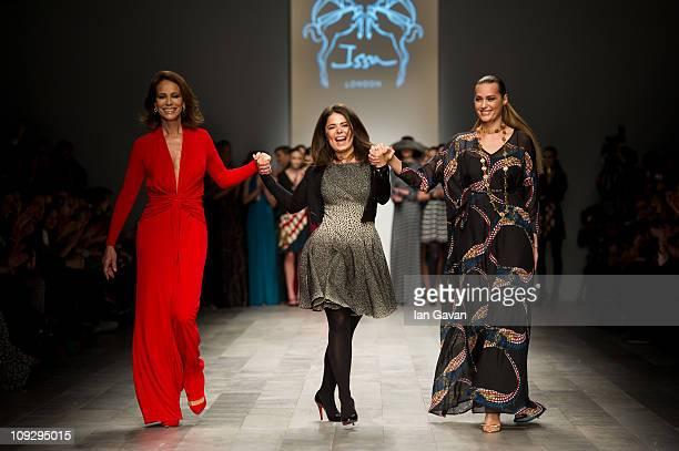 Andrea Dellal designer Daniella Helayel and Yasmin Le Bon walk the runway at the Issa London show during London Fashion Week Autumn/Winter 2011 at...