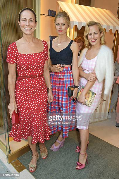 Andrea Dellal Laura Bailey and Charlotte Dellal attend the opening of the Charlotte Olympia Brompton Cross store on June 25 2015 in London England