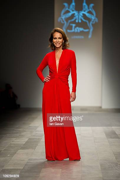 Andrea Dellal walks the runway at the Issa London show during London Fashion Week Autumn/Winter 2011 at Somerset House on February 19 2011 in London...