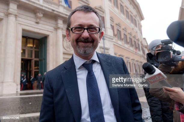 Andrea Delmastro deputy of Fratelli d'Italia in front Parlament on March 20 2018 in Rome Italy The new members of the 18th legislature carried out...