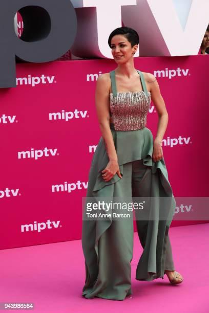 Andrea Delogu attends Aqui En La Tierra and Il Cacciatore screening during the 1st Cannes International Series Festival at Palais des Festivals on...