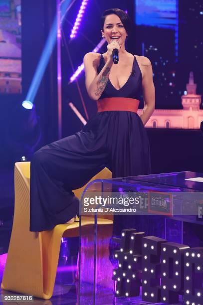 Andrea Delogu attends 'E Poi C'e' Cattelan' tv show on March 5 2018 in Milan Italy