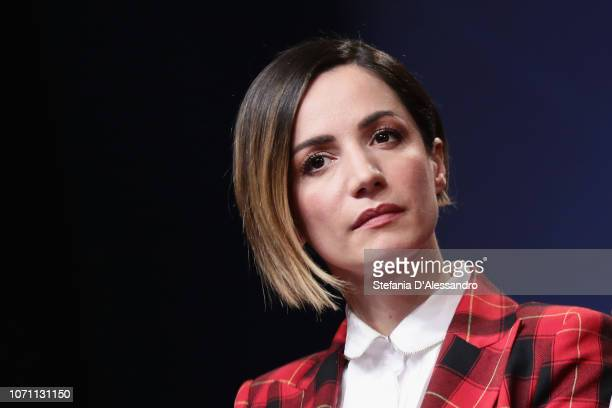 Andrea Delogu attends Guarda Stupisci TV Show Photocall In Milan on December 10 2018 in Milan Italy