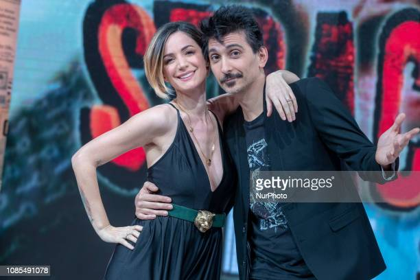 Andrea Delogu Fabrizio Biggio attend Stracult TV Program on RAI 2 TV in Rome Italy on 17 January 2019 Talk show about cinema and everything that...
