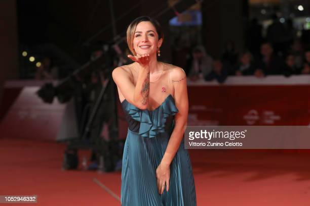 Andrea Delogu walks the red carpet ahead of the The Girl In The Spider's Web screening during the 13th Rome Film Fest at Auditorium Parco Della...