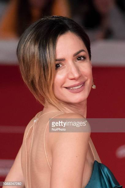 Andrea Delogu walks the red carpet ahead of the 'The Girl In The Spider's Web' screening during the 13th Rome Film Fest at Auditorium Parco Della...