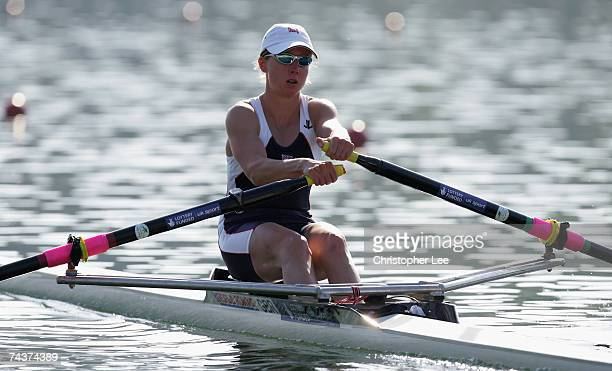 Andrea Dennis of Great Britain in action in the Lightweight Women's Single Sculls heats during Day One of the FISA Rowing World Cup held at...