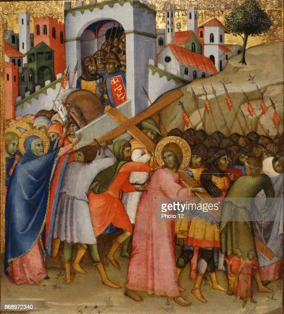 Andrea di Bartolo Christ arriving at Calvary 14151420 gold leaf and gold on wood
