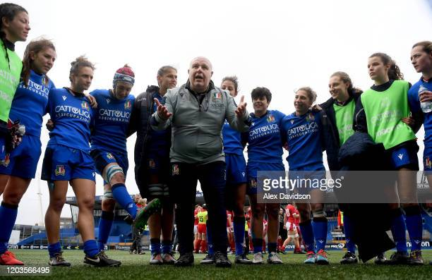 Andrea Di Giandomenico, Head coach of Italy talks to his players after the 2020 Women's Six Nations match between Wales and Italy at Cardiff Arms...
