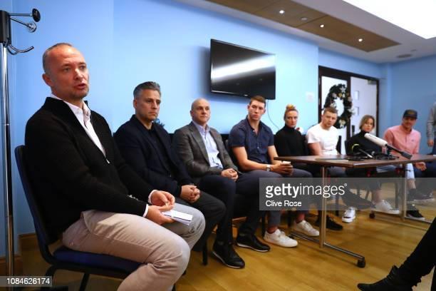 Andrea di Nino ISL Managing Director with ISL chief executive Ali Khan with and Konstantin Grigorishin Head of the ISL Advisory Board speak to the...