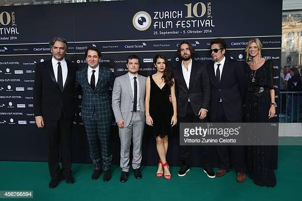 Andrea Di Stefano Karl Spoerri Josh Hutcherson Claudia Traisacguest Benicio del Toro and Nadja Schildknecht attend the 'EscobarParadise Lost' Green...