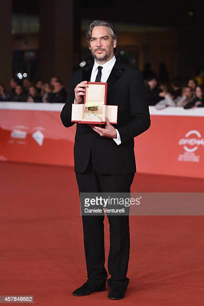 Andrea Di Stefano poses with the Gala Jury Award at the Award Winners Red Carpet during the 9th Rome Film Festival at Auditorium Parco Della Musica...