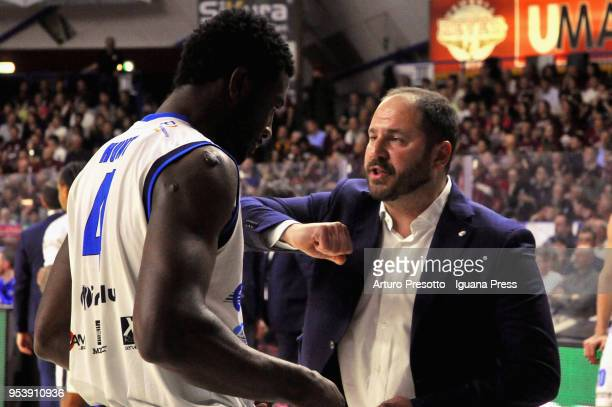 Andrea Diana head coach of Germani talks over with Dario Hunt during the LBA Legabasket of Serie A match between Reyer Umana Venezia and Leonessa...