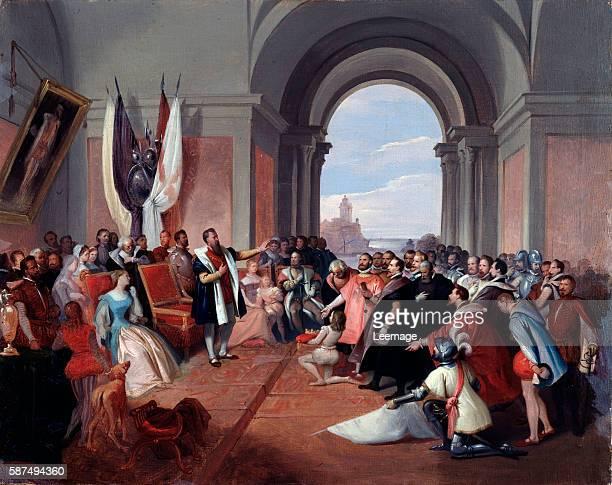 Andrea Doria italian condottiero refusing offers to take the lordship of Genoa and dogeship Painting by Giuseppe Isola ca 1868 Dim 50x635 cm Genoa...