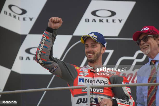 Andrea Dovizioso of Ducati Team celebrate the second place of the MotoGP Oakley Grand Prix of Italy at International Circuit of Mugello on June 3...