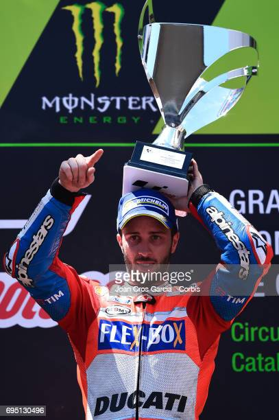 Andrea Dovizioso of Ducati Team celebrating his victory during the Moto GP race Moto GP of Catalunya at Circuit de Catalunya on June 11 2017 in...