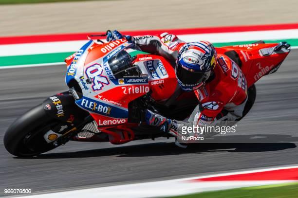 Andrea Dovizioso of Ducati Team during the 2018 MotoGP Italian Grand Prix Free Practice 3 at Circuito del Mugello Florence Italy on 2 June 2018