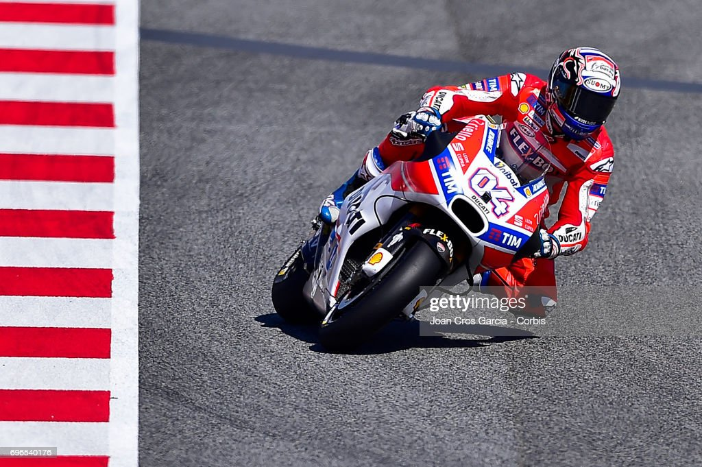 Andrea Dovizioso of Ducati Team, riding his bike during the Free Practice 3, Moto GP of Catalunya at Circuit de Catalunya on June 10, 2017 in Montmelo, Spain.