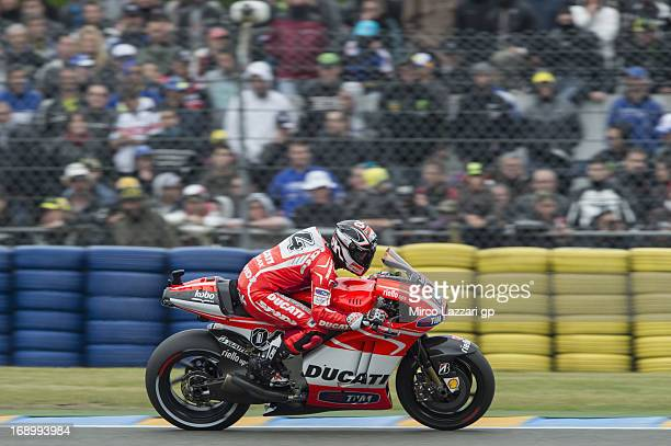 Andrea Dovizioso of Italy and Ducati Marlboro Team heads down a straight during the qualifying practice of the MotoGp Of France Qualifying on May 18...