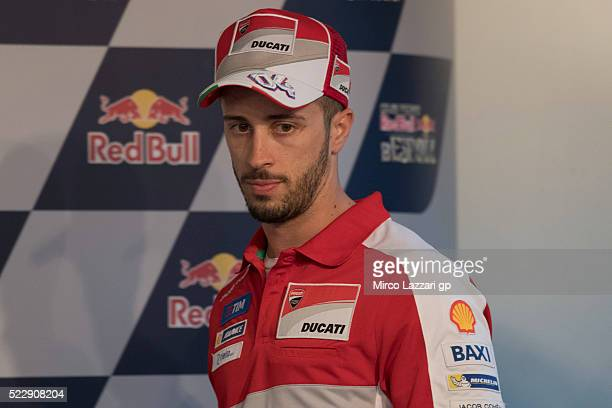 Andrea Dovizioso of Italy and Ducati Team arrives at the press conference during the MotoGp of Spain Previews at Circuito de Jerez on April 21 2016...