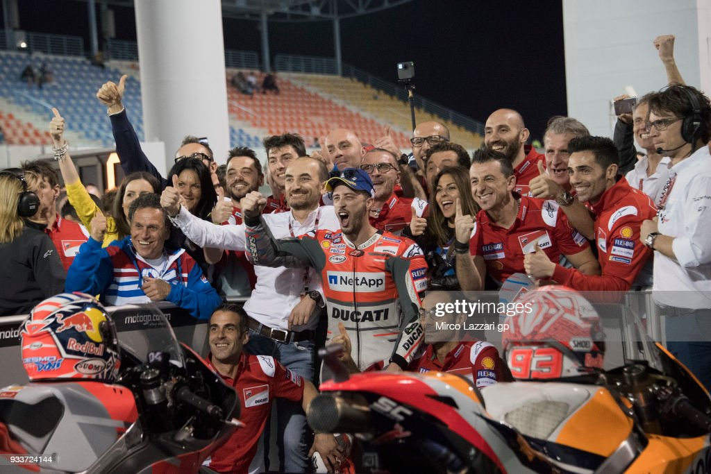 Andrea Dovizioso of Italy and Ducati Team celebrates the victory with team at the end of the MotoGP race during the MotoGP of Qatar - Race at Losail Circuit on March 18, 2018 in Doha, Qatar.
