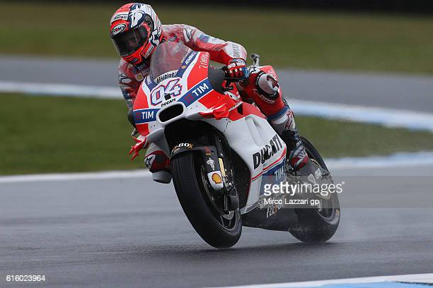 Andrea Dovizioso of Italy and Ducati Team heads down a straight during free practice for the 2016 MotoGP of Australia at Phillip Island Grand Prix...