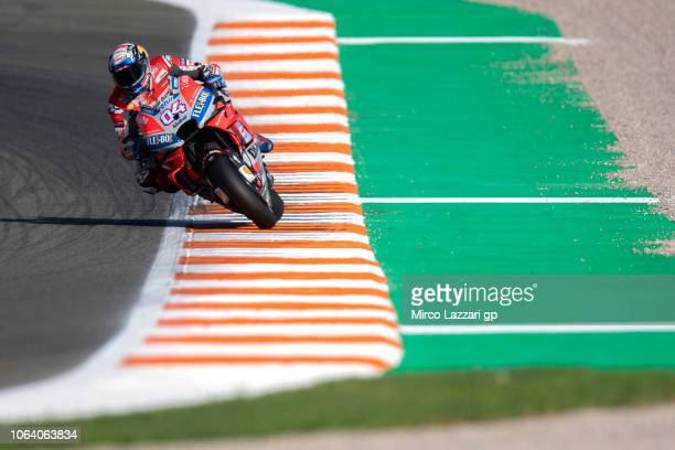 Andrea Dovizioso of Italy and Ducati Team heads down a straight during the MotoGP Tests In Valencia at Ricardo Tormo Circuit on November 21 2018 in...