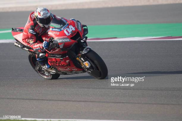 Andrea Dovizioso of Italy and Ducati Team heads down a straight during the MotoGP Tests at Losail Circuit on February 22 2020 in Doha Qatar