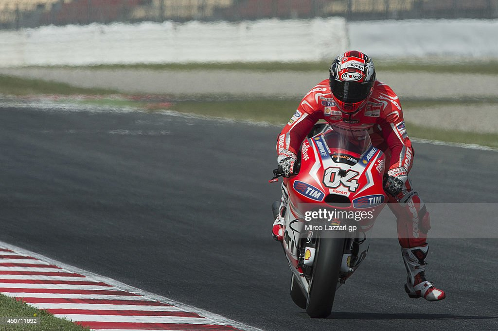 Andrea Dovizioso of Italy and Ducati Team heads down a straight during the MotoGp Tests In Montmelo at Circuit de Catalunya on June 16, 2014 in Montmelo, Spain.