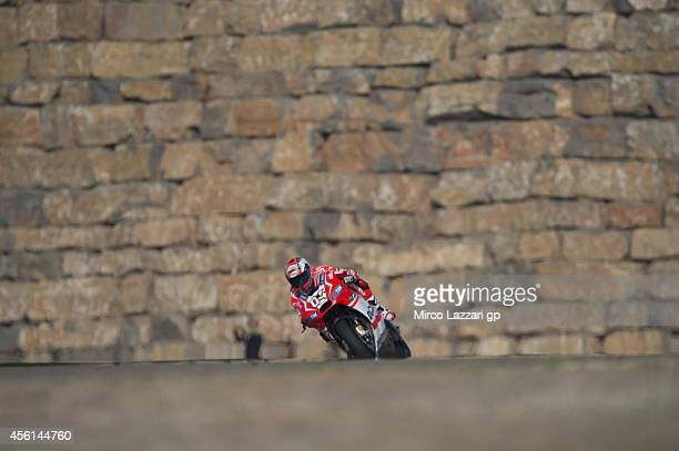 Andrea Dovizioso of Italy and Ducati Team heads down a straight during the MotoGP of Spain Free Practice at Motorland Aragon Circuit on September 26...